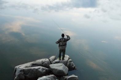 pêche pêcheur lac vert